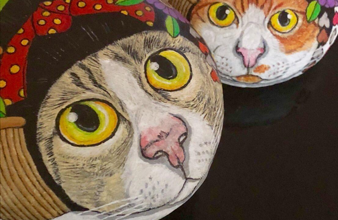 石ストーンアートの猫たち。京都ですから舞妓ねこも。